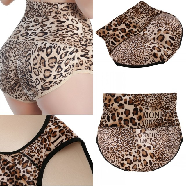 0c54676ea3fa Leopard Printed Sexy Women Leopard High Waist Seamless Lift The Hips Panties  Hip Up Padded Underwear Soft Briefs Plus Size-in Control Panties from  Underwear ...