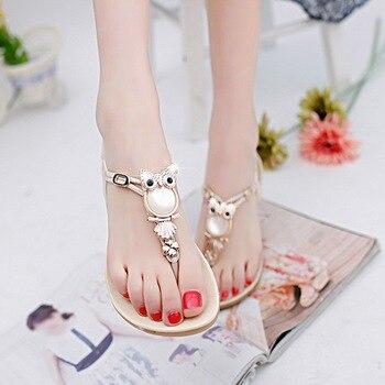 Summer Women Sandals Elastic Strap  Flat Sandal Beaded Owl Slipper Women Beach   Size 35-42 2