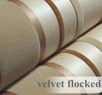 Современные золото и коричневый 3D текстурированная Цвет регистрация бархат стекались обои в Вертикальную Полоску Задний план