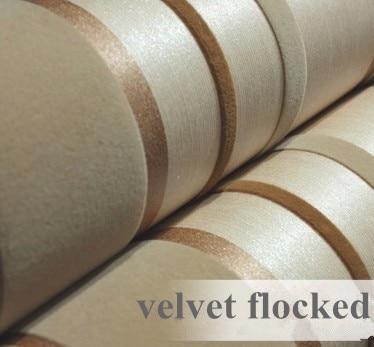 Modern gold brown 3d textured colour register velvet for Flock wallpaper