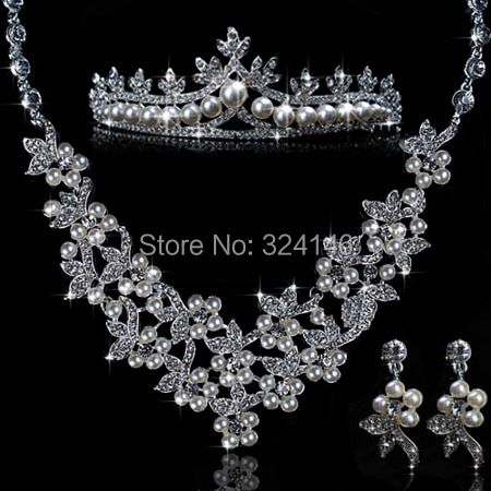 New Fashion ivory Pearl Bride wedding Jewelry Sets Charming Silver Crystal Necklace sets lovely princess necklace accessories