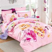 Suluboya Çiçek Baskılı Pembe Yatak Set Kraliçe Pamuk Yorgan Kapak Çarşaf Yastık Kılıfı ile Kız Ev Tekstili