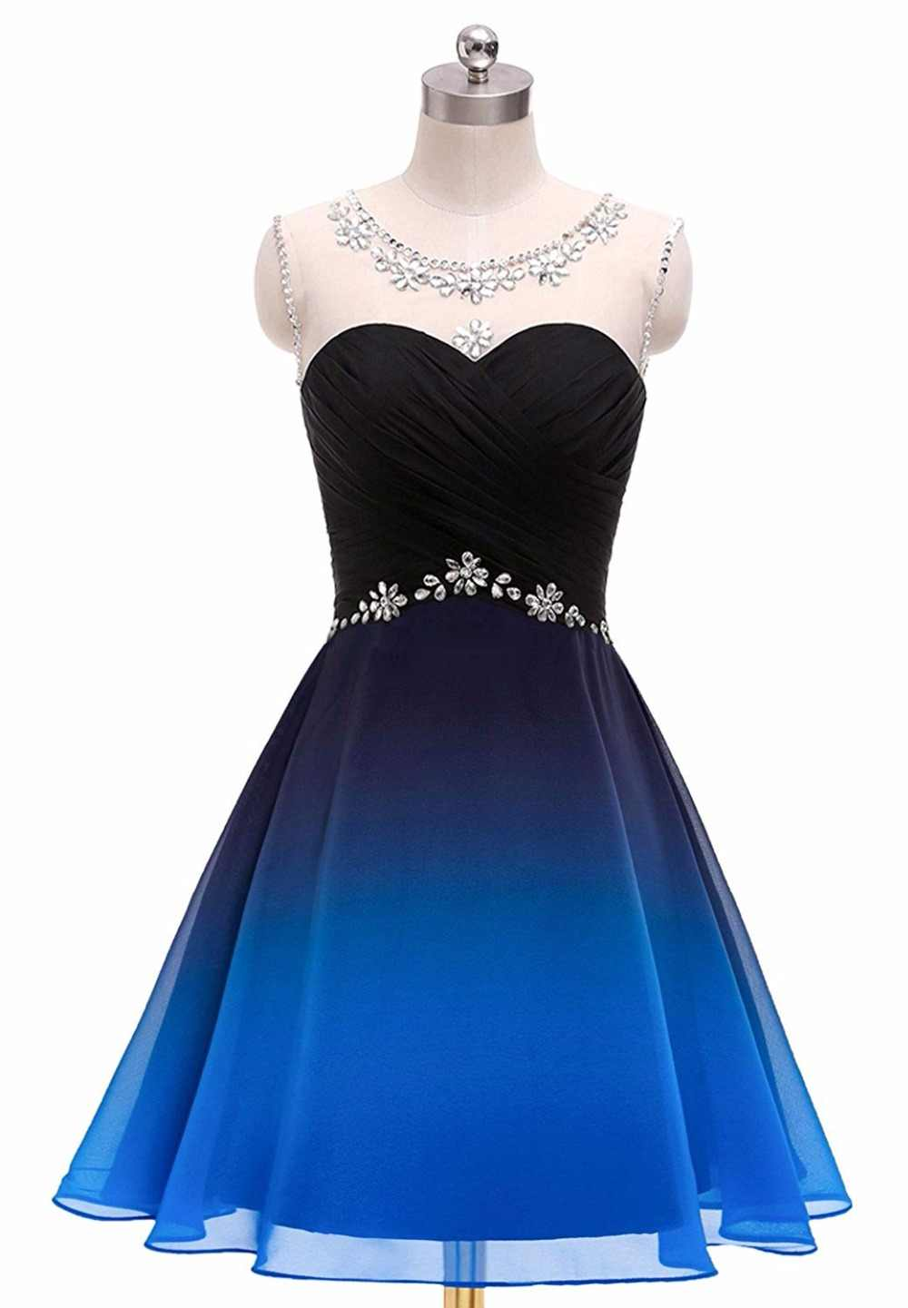 Bealegantom 2019 Gradient Chiffon Short Prom Dresses Ombre Beads Evening  Party Gowns Homecoming Graduation Dress QA1560 22e3b2e3d1ac