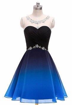 Bealegantom 2019 Gradient Chiffon Short Prom Dresses Ombre Beads Evening Party Gowns Homecoming Graduation Dress QA1560