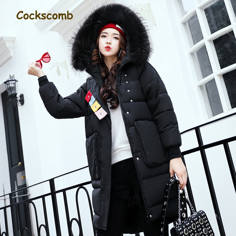 Cockscomb Plus Size Warm Winter Parkas Women Pockets Thickening Cotton Wadded Coat Outerwear Woman Jacket with Faux Fur Hood 2017 winter women plus size in the elderly mother loaded cotton coat jacket casual thickening warm cotton jacket coat women 328