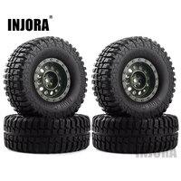 """INJORA 4Pcs Plastic 1.9"""" Wheel Rim Tires Set for 1/10 RC Crawler Car Axial SCX10 90046 Tamiya CC01 D90 D110 4"""