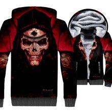 2018 New Fashion Mens Winter Jacket 3D Print Skull Hoodies Gothic Thick Sweatshirts Zip Up Man Coat Men/Women Outwear Tracksuit