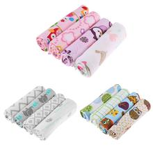 4pcs 100% Cotton Owl Flower  Print Muslin Baby Blankets Bedding Infant Swaddle Towel For Newborns Swaddle Blanket