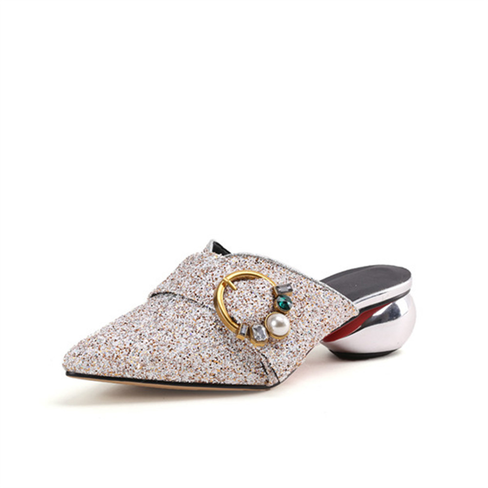 313f4a466cfde5 Été Sandales Mode Bug Talons Nouvelle Moonmeek or Pointu Paillettes Chaussures  2018 white Taille Loisirs Bout ...