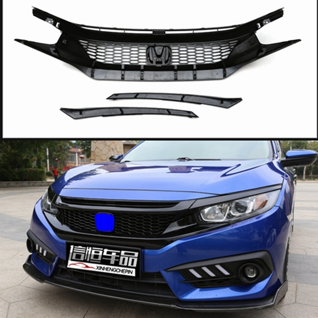 Automobile Exterior Tuning Racing Grills For Honda Civic 2016 Abs Grille Fit 2017 Front Per
