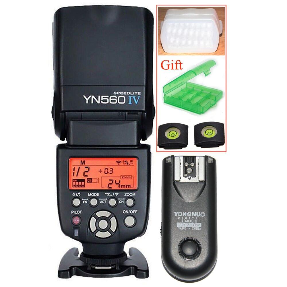 Yongnuo YN-560 IV 2.4G Wireless Flash Speedlite + RF-603 II C Wireless Remote Trigger for Canon 6D 7D 60D 70D 5D2 5D3 700D 650D yongnuo yn560 iv master radio flash speedlite rf 603 ii flash trigger for canon pentax olympus