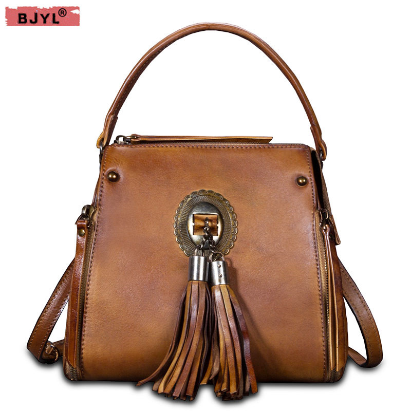 BJYL 2018 new leather small Women shoulder Bags Retro tassel Women bucket handbags fashion female Messenger bag crossbody Bag