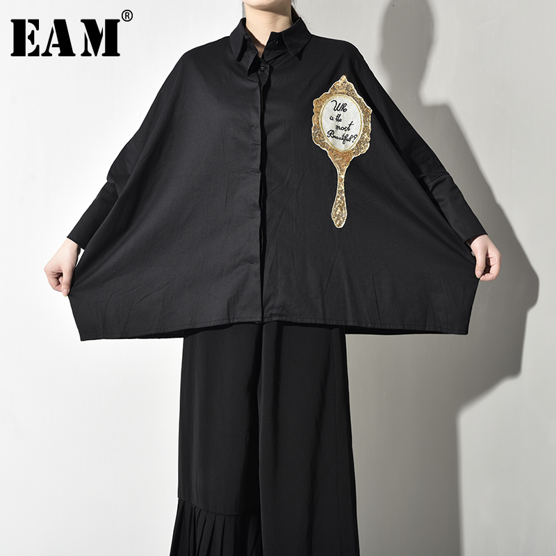[EAM] Women Black Oversize Print Sequins Blouse New Lapel Long Sleeve Loose Fit Shirt Fashion Tide Spring Autumn 2019 T3840