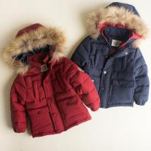 Children Jackets Winter Warm Cotton Coat Padded Boys Fur Collar Baby Down Kids Clothing Outerwear Infant Overcoat Girls Parka