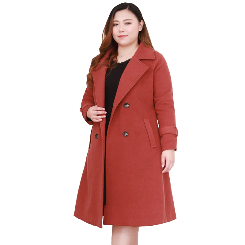 ウールのコートの女性プラスサイズ 4XL 10XL 秋冬ルースウインドブレーカー女性の基本的なコートダブルブレストウールコート大サイズ  グループ上の レディース衣服 からの ウール混紡 の中 2
