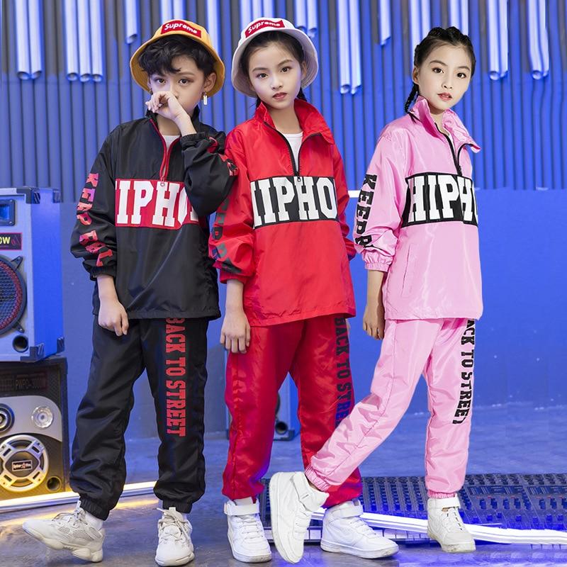 2019 New Hiphop Printed Jacket Pants Set Kids Hip Hop Clothing Boys Girls Street Dance Suit Children's Jazz Performance Costumes