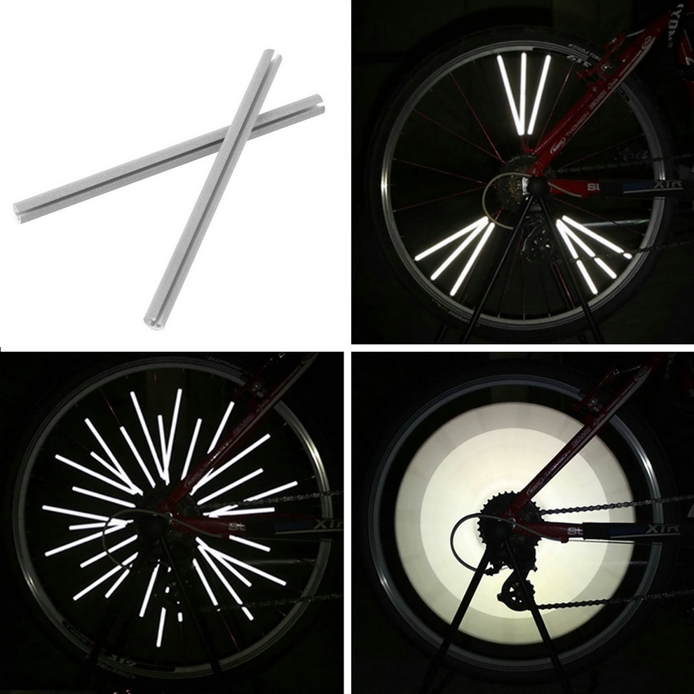12pcs Reflective Mount Clip Tube Warning Strip Bicycle Bike Wheel Spoke Reflector Mountain Rear Bike Reflector Light New Arrival