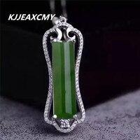 KJJEAXCMY butik takı, Doğal yeşim kolye ıspanak yeşil 925 gümüş kakma ve yeşim takı kolye Bi Tian