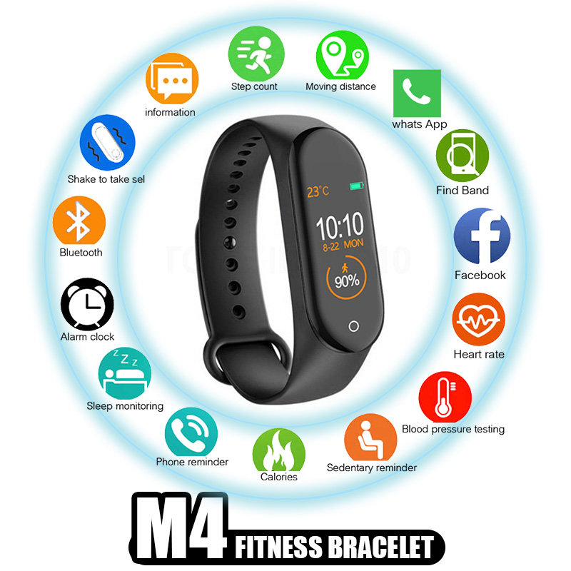 GIAUSA <font><b>M4</b></font> <font><b>Smart</b></font> <font><b>Band</b></font> Wristband Heart rate/Blood/Pressure/Heart Rate Monitor/Pedometer Sports Bracelet Health Fitness bracelet image