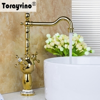 Grand Superior In Quality Golden Finish Basin Faucet Deck Mounted Dual Handle Single Hole Hot Cold
