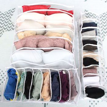 6/8/9 Grid PVC Closet Organizer Storage Box Container For Underwear Bra Socks Ties Scarves Drawer Divider