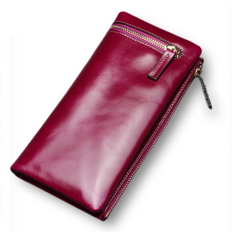 ФОТО 2017 Oil Wax Genuine Leather Luxury Women Long Wallet Zipper Multiple Cards Holder Clutch For Girls Women Standard Wallet