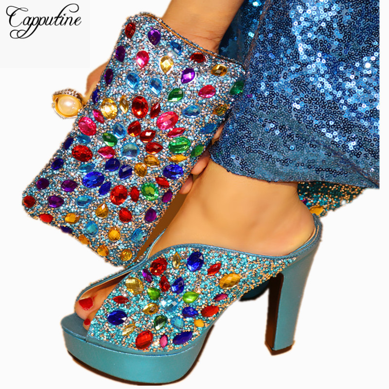 Capputine 2018 New Italian High Heels Woman Shoes With Purse Set For Party Wonderful Design Party Pumps Shoes And Bag Set TX-31