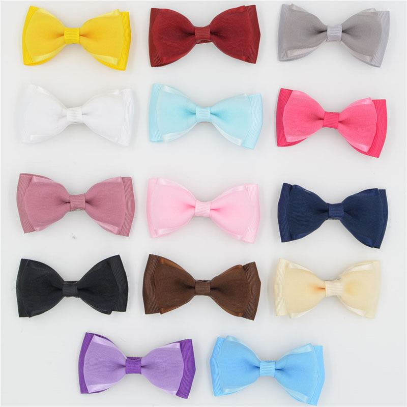 Cute Solid organza Boutique Hair Bows Barrettes Baby Toddler Girls Hair Ribbon Bow With Clips Kids Stain Hair pins women barrettes cute baby girl big bow clips boutique hair pin luxury girls hairpin hair accessories free shipping