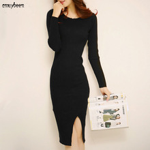 Dresses Long Sweater Dress Women Winter 2017 Pullovers Knitted O neck Bandage Wrap Slim with a