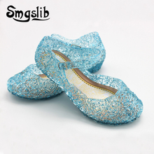Girls Sandals Kids Shoes Princess Jelly Wedge Sandalas Fashion Crystal Sandals For Girls Nest Shoes Hollow Out Mesh Flats Shoes kids hollow out flats
