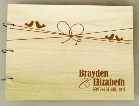 Personalized Mr Mrs Rustic Wedding Guest Album Engraved Wooden
