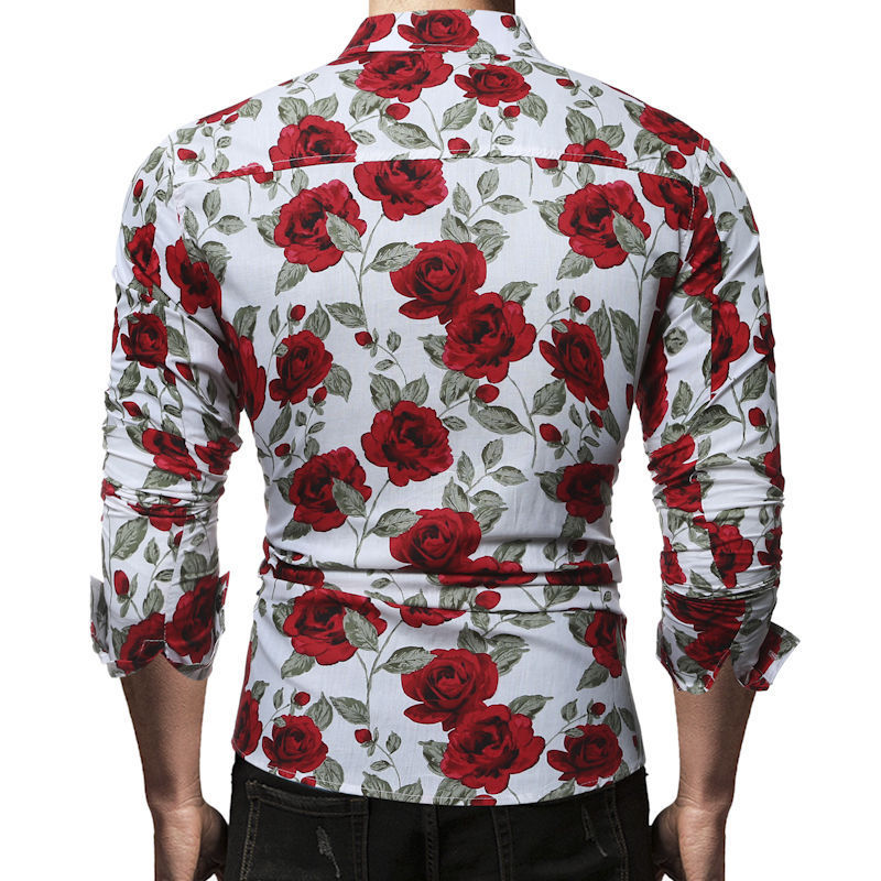 Fashion Mens Luxury Long Sleeve Slim Shirt Casual Fitness Stylish Dress Shirts Tops Stylish Mens Rose Floral Print Dress Shirts in Dress Shirts from Men 39 s Clothing
