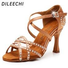 DILEECHI Kadın Parti Dans Ayakkabıları Saten Shining rhinestone Yumuşak Alt Latin Dans Ayakkabıları Kadın Salsa Dans Ayakkabıları heel5CM 10CM