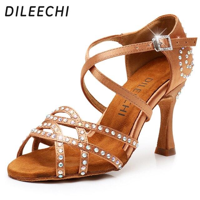 DILEECHI สตรีรองเท้าเต้นรำซาติน Shining rhinestone ด้านล่าง Latin Dance รองเท้าผู้หญิงรองเท้าเต้นรำ Salsa heel5CM 10CM