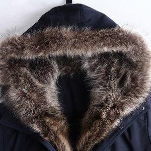 Image 5 - City Class Winter Pelz Jacke Männer Abnehmbare Waschbären Haube Lang Parka Herren Casual Jacken und Mäntel Baumwolle Stoff Kamel Wolle 17843