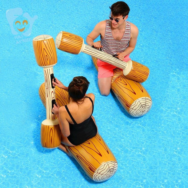 Inflatable Log Joust Set Raft Inflatable Water Toys Pool Fun Beach Swimming Float Mattress Boia De Piscinas