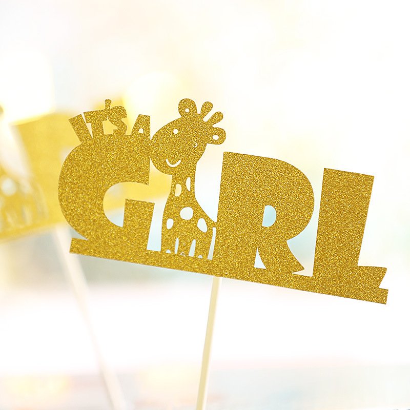Cake Toppers Giraffe Birthday Cake Topper Cupcakes flags It 39 s a Girl Baby Shower Party Decoration Gold Silver Cake Accessory in Cake Decorating Supplies from Home amp Garden