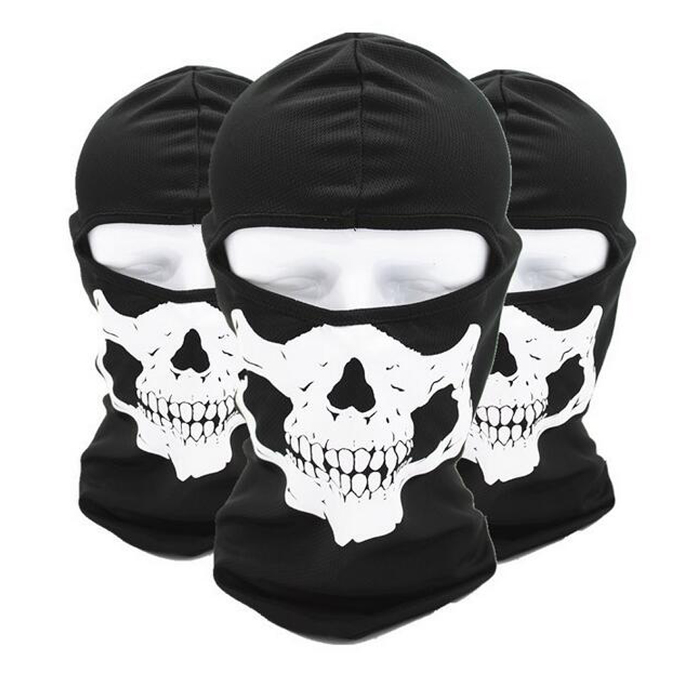 New Ghost Skull Mask Skeleton Hats Tactical Cosplay Costume Army Balaclava Hood Motorcycle Bicycle Halloween Full Face Masks halloween skeleton style cosplay costume face mask gloves set black white