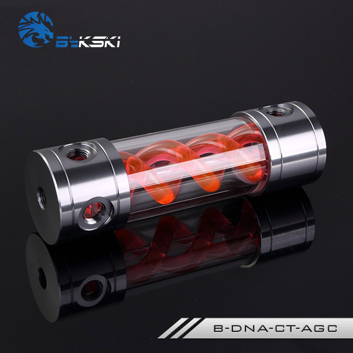 BYKSKI Length 180/260MM X 50MM Aluminum Acrylic Double Helix T-Virus Cylindrical Water-Cooled Coolant Tank Light System RED DNA
