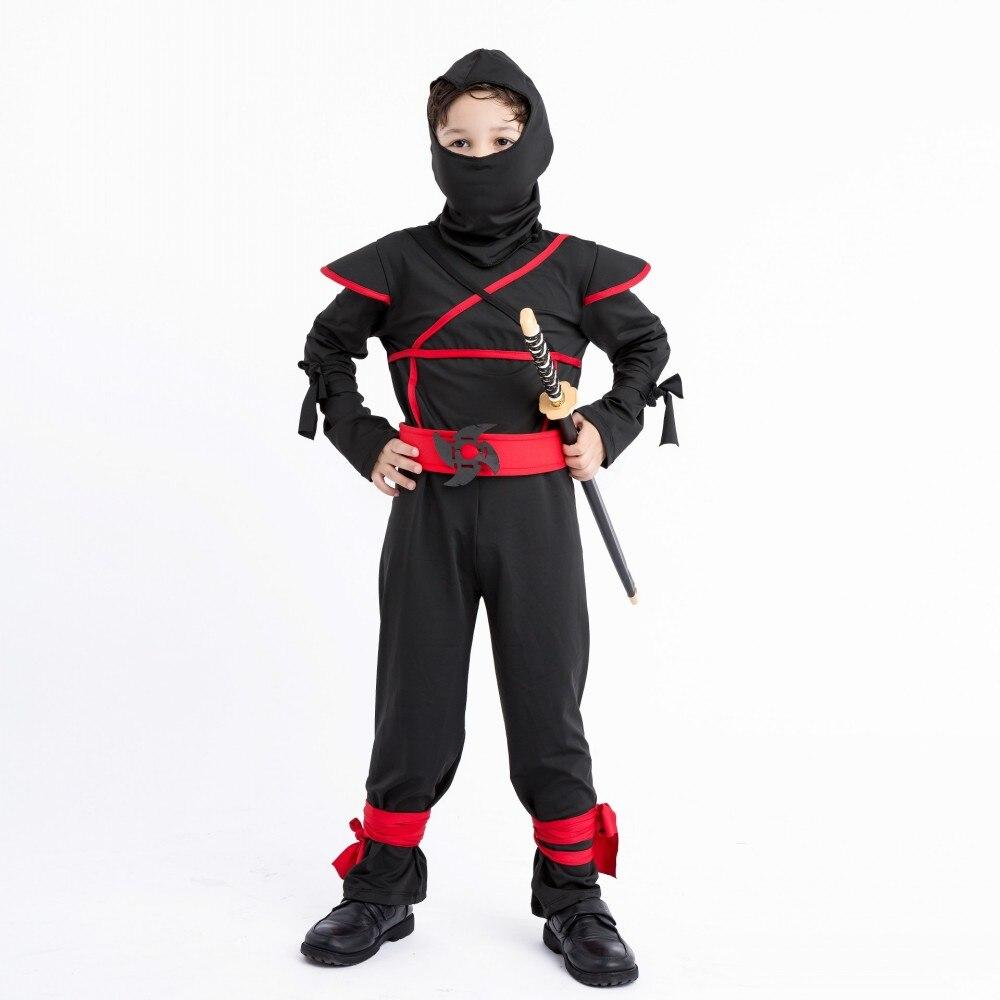 Kid Ninja Costume Child Masked Warrior Cosplay Halloween Costume Black Ninja Clothing Festivals Play Costumes for children
