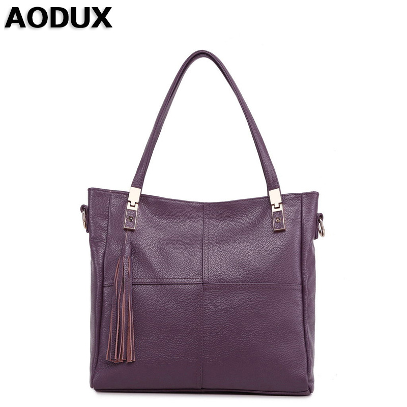 AODUX Top Layer Genuine Cow Leather Women Shoulder Bag Handbags Real Leather Long Shoulder Strap Messenger Bags 2017 new female genuine leather handbags first layer of cowhide fashion simple women shoulder messenger bags bucket bags
