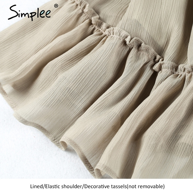 Simplee Short chiffon vintage dress women Off shoulder long sleeve beach summer dress Ruffle sexy dress new year vestido