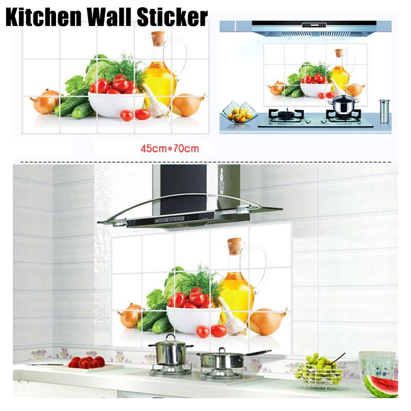 Fruits Vegetables Waterproof Wall Sticker Heat Resistance DIY Vinyl PVC Self Adhesive Anti Oil Kitchen Wallpaper Home Decor