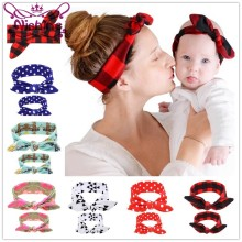 Nishine 2 pz/set Mommy and Me Top Nodi Headwrap Set Fiore Della Stampa Dot Fascia Mamma e Me Fasce Mamma e la figlia Turbante Set