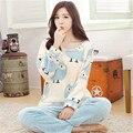 Invierno Cálido Pijama de Franela Mujeres Lindo Pijama de Manga Larga Da Vuelta-abajo Inicio Pijamas Ocasionales Más Tamaño Ropa de Dormir bata