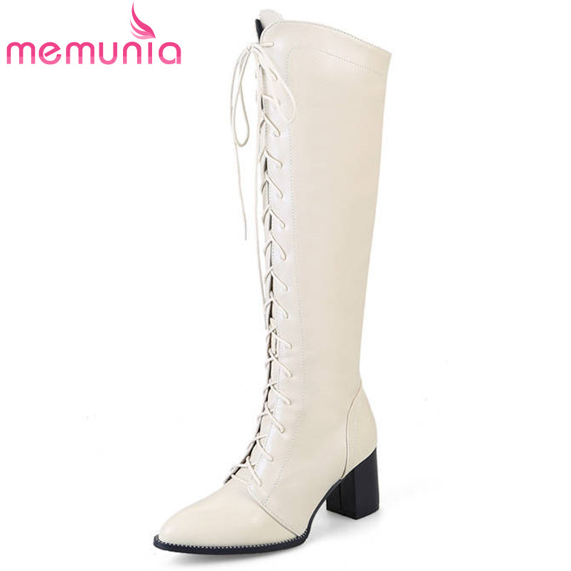 MEMUNIA 2018 new arrival knee high boots women zipper with lace up autumn winter fashion ladies boots square heels dress shoes memunia 2018 new arrival knee high boots for women pointed toe suede leather boots zipper lace up autumn boots fashion shoes
