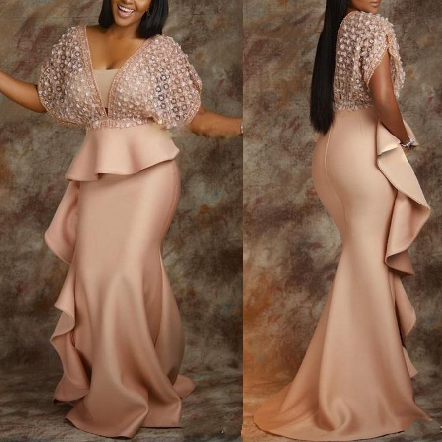 abiye   Evening     Dress   Plus Size vestidos largos Half Sleeves   Evening     Dress   Lace abendkleider Long Mermaid   Evening   Gown Pleats