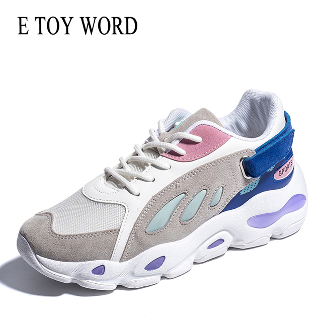 E TOY WORD Fashion sneakers women 2019 New Breathable Mesh Women Casual Shoes Lace Up Women Vulcanize Shoes Chaussure Femme