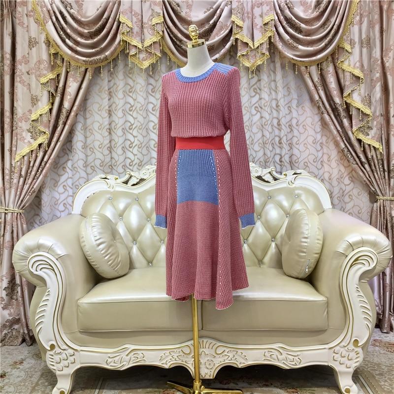 Automne Bloc Pull Casual Chandails Longue Chandail Costume Hiver Maxi Piste Couleur Femmes Jupe Nouveau De Tricoté Ensemble 2017 5xP0RwqOB