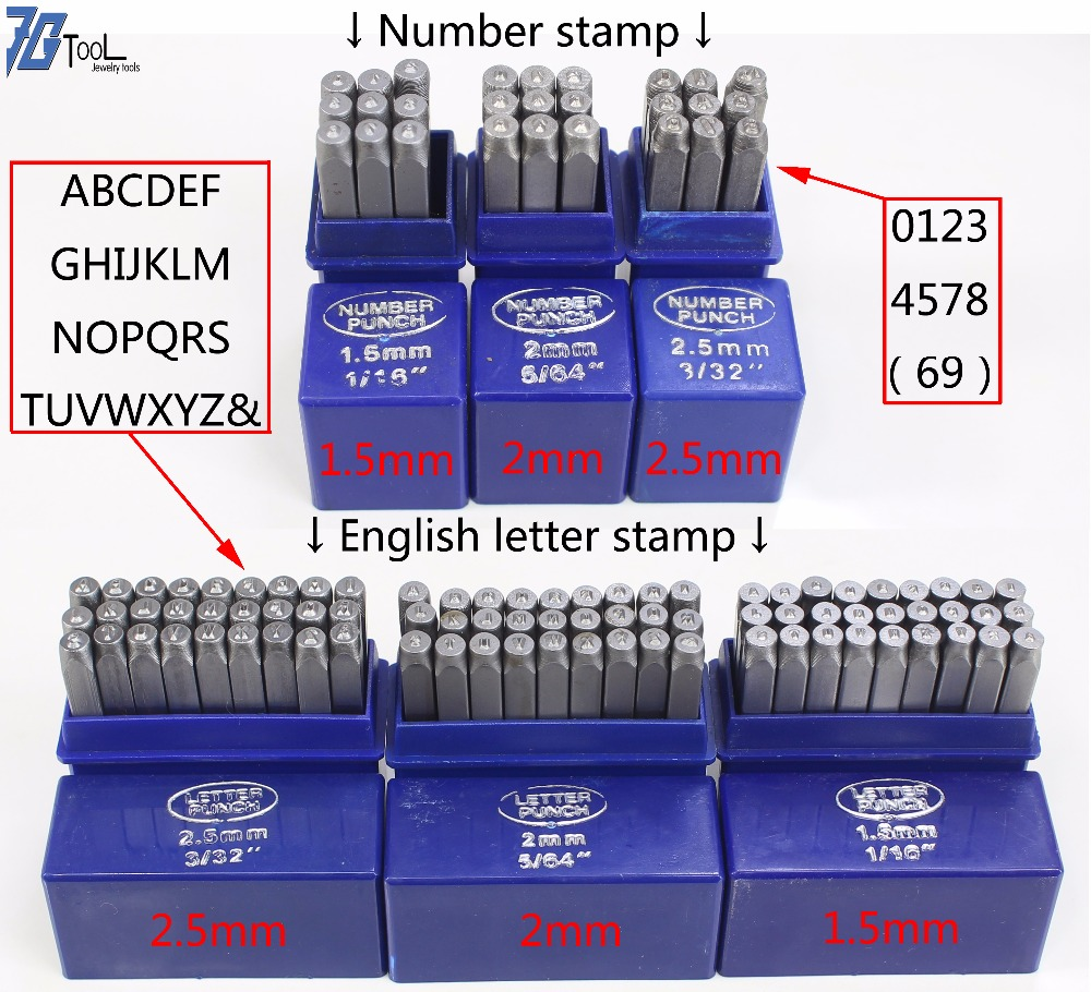 9pcs Stamps Letters Number Set Punch Steel Metal Tool Case Craft Hot 1.5/2/2.5/3/4/5mm